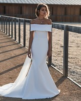 Boho Wedding Dresses 2020 Satin Bridal Dress Off the Shoulder Wedding Gown Mermaid Backless vestidos de mariage