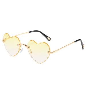 Image 4 - Женские солнцезащитные очки без оправы в форме сердца, модные брендовые дизайнерские очки в металлической оправе, градиент цвета конфеты, трендовые очки
