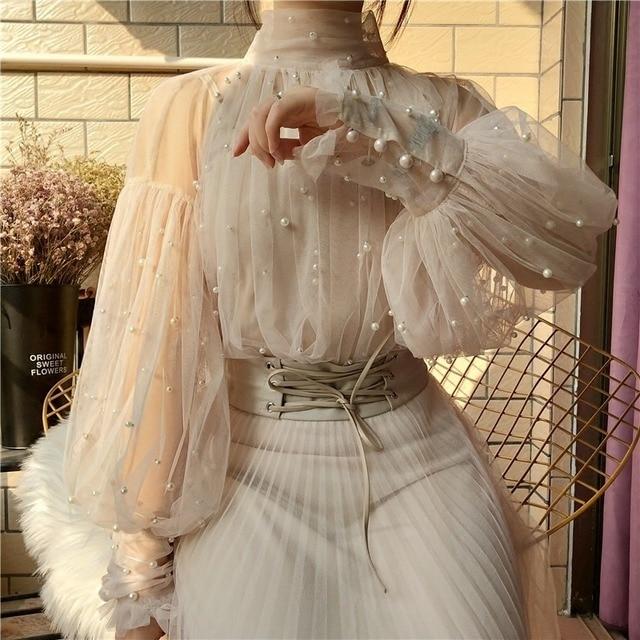 Spring Beading Mesh Blouses Women Sweet Lantern Sleeve Pearls Gauze Blouses Ladies Elegant Shirt Tops Stand Collar Chiffon S-2XL 1