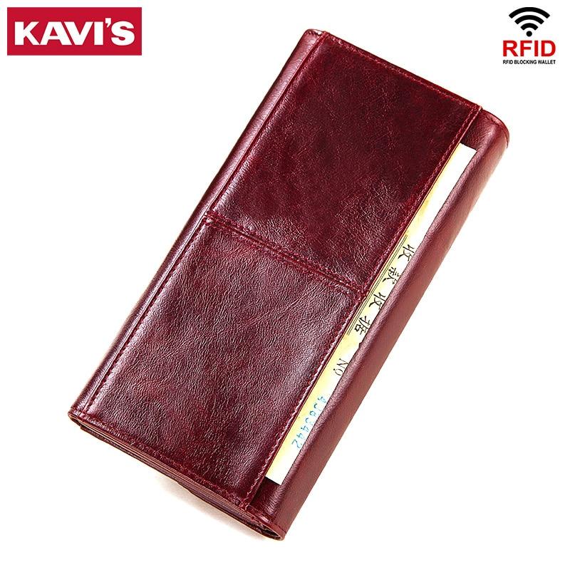 Image 2 - KAVIS Genuine Leather Wallet Female Coin Purse Women Portomonee  Clutch  Lady Clamp for Phone Bag Zipper Card Holder Handy PerseWallets