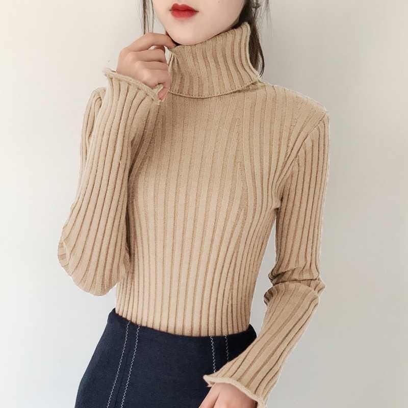 여자의 긴 소매 터틀넥 스웨터 2020 새로운 패션 가을 겨울 따뜻한 하단 Pullovers 숙 녀 두꺼운 풀 오버 LWL583