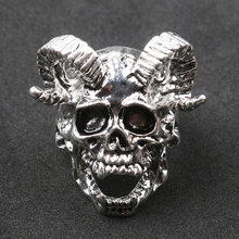 Vintage Personality Sheep Head Skull Ring Motorcycle Party Punk Style Biker Ring Cool Men Finger Ring Hip Hop Jewelry(China)