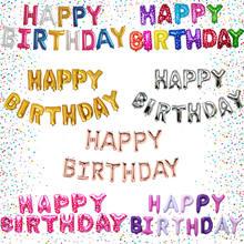 13 pçs feliz aniversário banner balão decoração da folha balões festa de aniversário decorações 16 polegada letras
