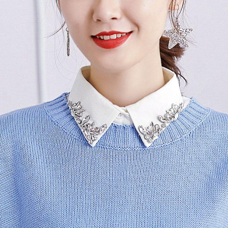 THINKTHENDO Women All Matching Fake Collar Jewelry Gem Rhinestone Lapel Sweater Half-Shirt