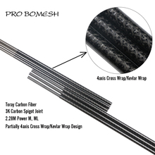 Pro Bomesh 1 Pcs 2.28M Toray Carbon ML M 2 Section Kevlar Cross Wrap 4axis Cross Wrap Bass Rod Blank DIY Rod Building Blank