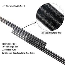 프로 bomesh 1 pcs 2.28 m toray 탄소 ml m 2 섹션 케블라 크로스 랩 4 축 크로스 랩베이스베이스 빈 diy로드 빌딩 블랭크