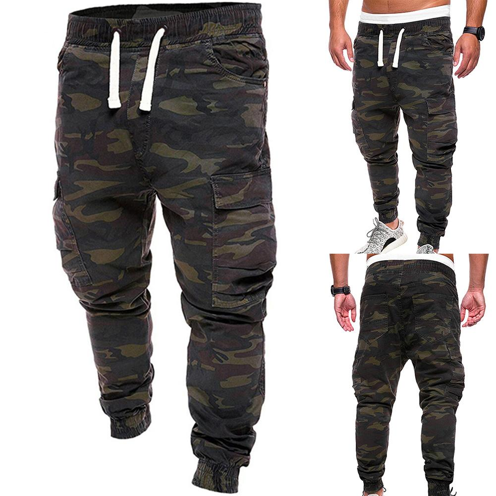 Hot Plus Size Men Military Camouflage Print Trousers Multi Pockets Cargo Jog Pants Print Trousers Multi Pockets Cargo Jog Pants