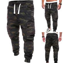 Hot Plus Size Men Military Camouflage Print Trousers Multi Pockets Cargo Jog Pants Print Trousers Multi Pockets Cargo Jog Pants