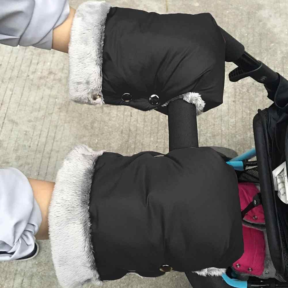 Saftybay Baby Stroller Hand Muff Warm Gloves,Winter Outdoor Stroller Windproof Waterproof Gloves with Mobile Phone Bag Headphone Jack
