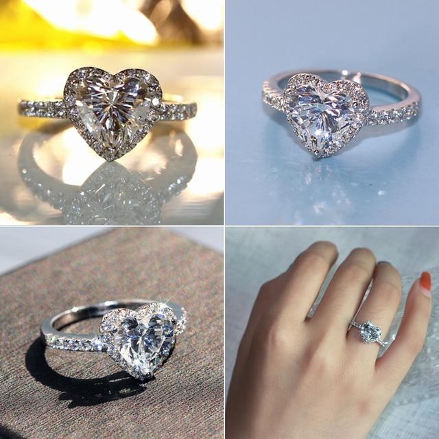 Anillos de boda con corazón de Plata de Ley 925 de lujo para mujer, anillo de compromiso con Circonia cúbica de diamante simulado de 1.8ct, tamaño 5,6,7,8,9,10
