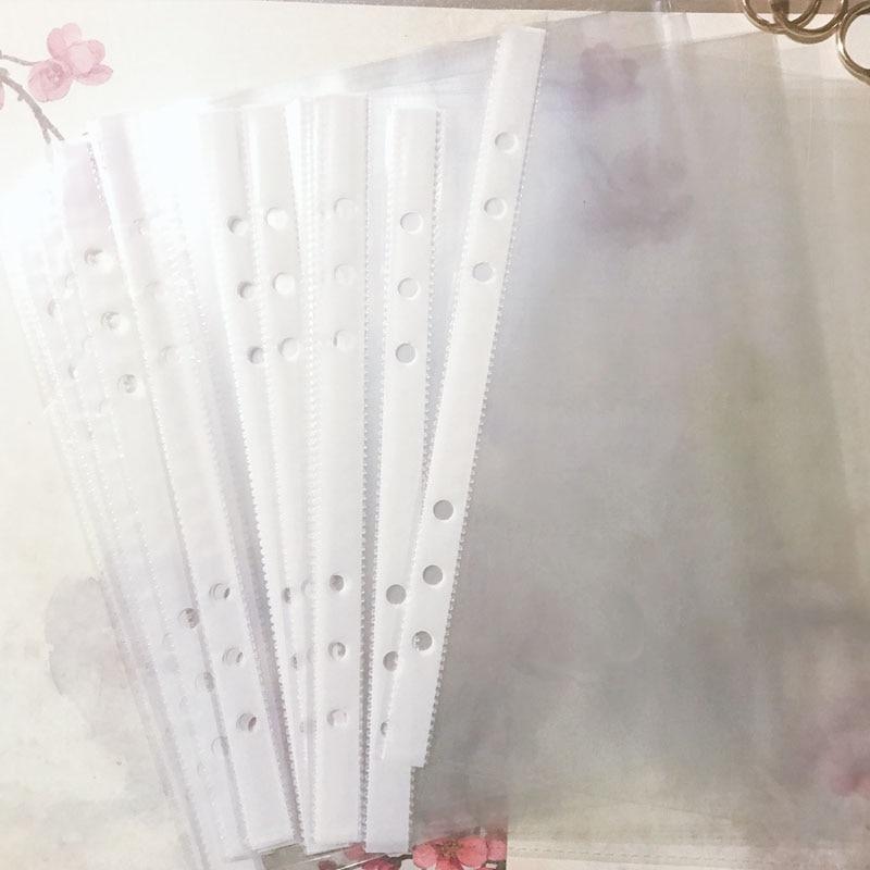 50pcs/Set Transparent Plastic A5 6Hole Loose-leaf Bag Folders File Ring Binder Sheet Protector Punch Pocket Paper Storage Office