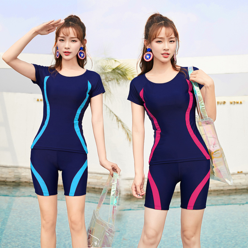 Students Two-piece Swimsuits Conservative Surfing Yoga Diving Suit Bathing Suit Women's Sports Hipster Multi-color Pin Tiao