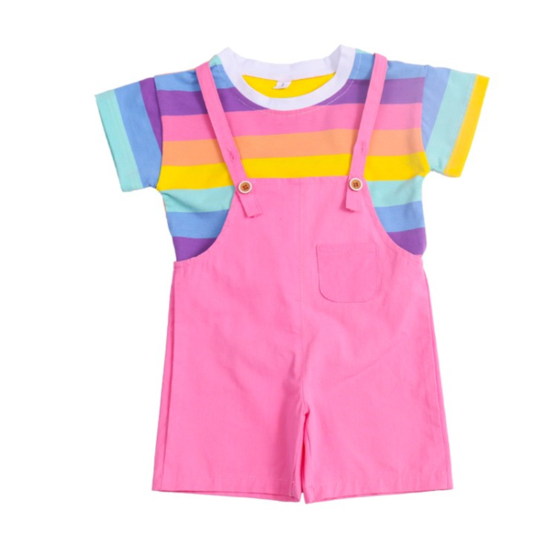 Купить модная одежда для маленьких девочек футболка в цветную полоску