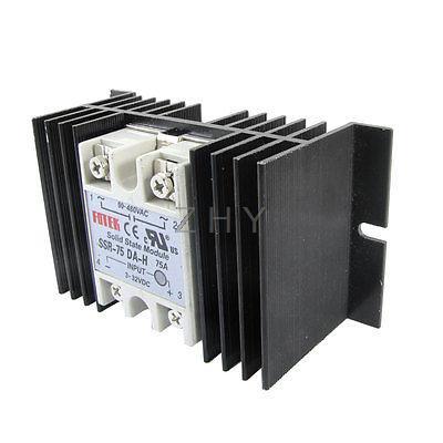 Single Phase Solid State Relay SSR-75DA 3-32V DC 90-480V AC w Aluminum heat sink