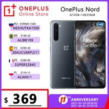 Глобальная версия OnePlus Nord 8GB 128GB смартфон 5G Snapdragon 76 5G 90 Гц 6,44 ''amoled Экран 48MP Quad камеры Warp заряжайте 30T