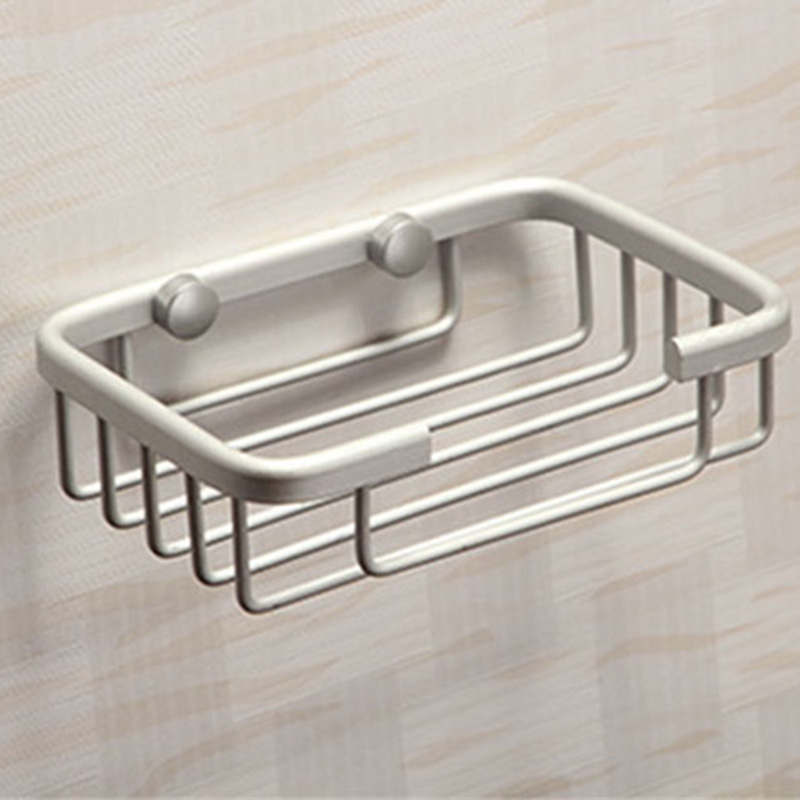 Self Adhesive Stainless Steel Soap Dish Box Shelf Storage Rack Holder Bathroom