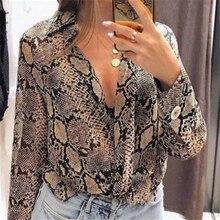Snake Skin Shirt Women Blouses Button Shirt Long Sleeve