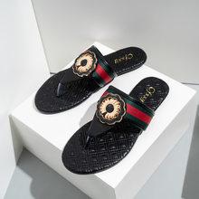New Summer Brand Designer Flat Sandals Women Slippers Outdoor Casual Striped Flip Flops Shoes Ladies Beach Slides Size 37-42