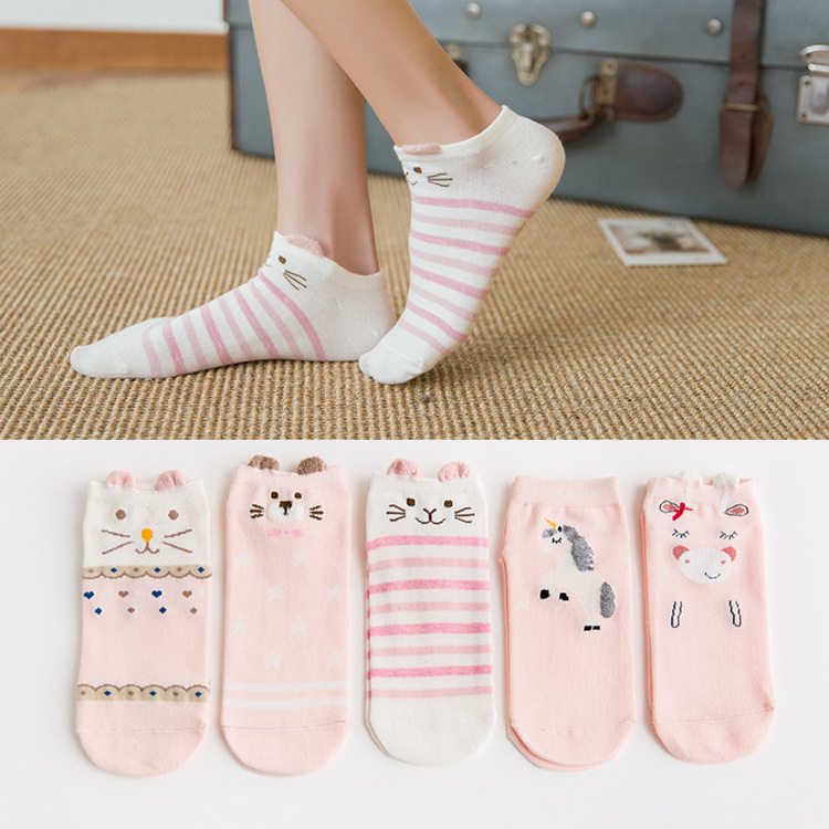 H76820da47ed043068261c81df446f8aas - Disney 5 Pairs/Lot Casual Cute women Scoks Cartoon animal Mickey Mouse Donald Duck invisible ankle Socks Cotton happy Funny sock
