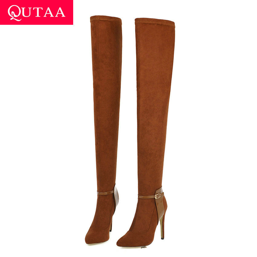 QUTAA 2020 Sexy Thin High Heel Slip on Women Shoes Quality Stretch Flock Pointed Toe Buckle Over The Knee High Boots Size 34-40