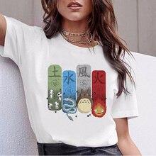 Japanese cartoon Anime print tshirt women funny t shirt camiseta mujer kawaii totoro Spirit Away female t-shirt Miyazaki Hayao цена и фото