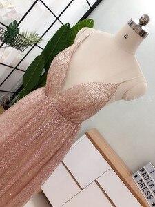 Image 5 - Sexy Spaghetti trägern V ausschnitt Backless Prom Kleider 2020 Rose Gold Pailletten Lange Abendkleid A line Champagne Formale Party Kleider