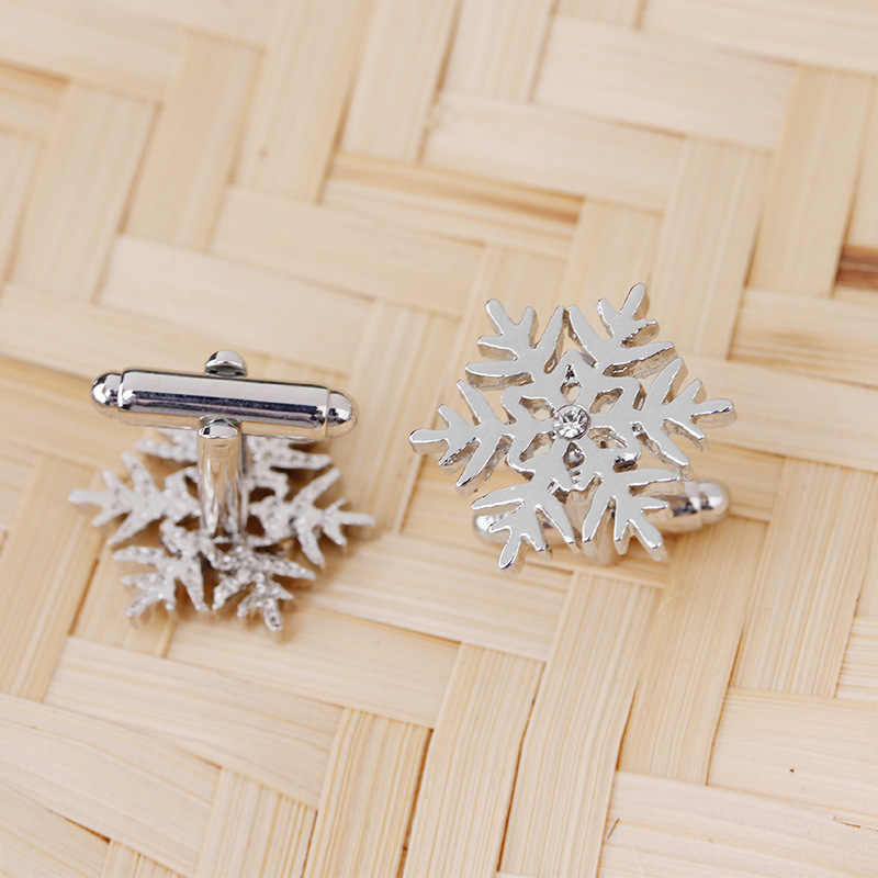 Snow flake Crystal Flower Cufflinks for Mens Shirt Brand Cuff Buttons Hollow Grooved Cuff Links Rhinestone Cuflink