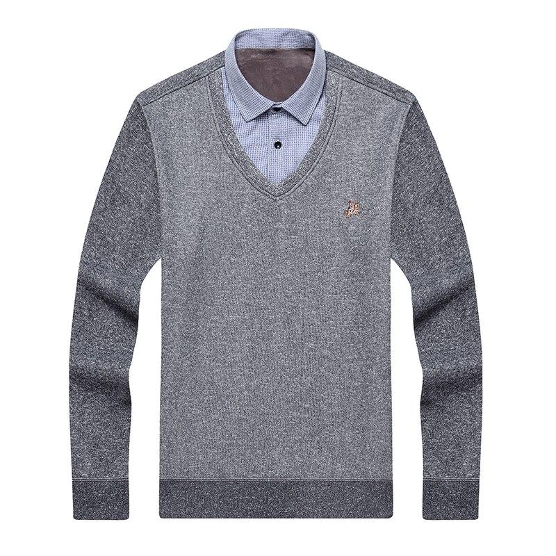 Aoliwen Brand Men Winter Thick Sweater Shirt Fleece Lining V-neck Shirt-collar Flannel Cotton Dress Shirt Sweater Men Warm Fluff