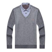 Aoliwen brand men winter thick sweater shirt fleece lining V-neck shirt-collar flannel cotton dress Warm fluff