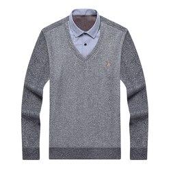 Aoliwen merk mannen winter dikke trui shirt fleece voering V-hals shirt-kraag flanel katoenen jurk shirt trui mannen Warm pluis