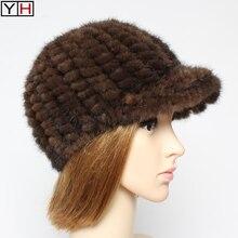 Hats Mink-Fur-Caps Winter Fashion Women Brand Warm New Real-Mink Soft Lady 100%Natural