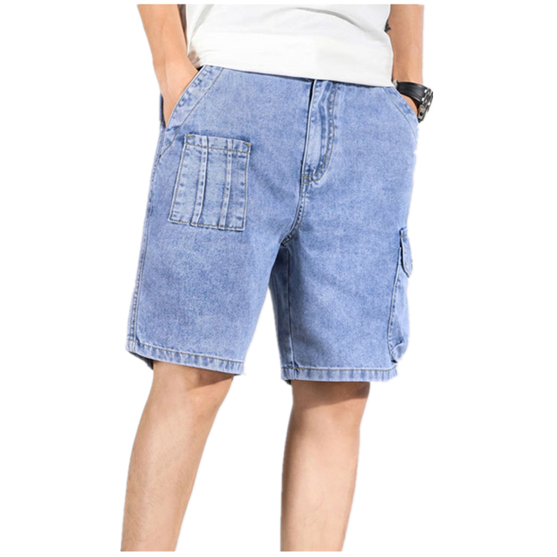ICPANS Elastic Waist Knee Length Casual Short Loose Denim Cargo Shorts Men  Streetwear Mens Shorts 2020 Summer Plus Size