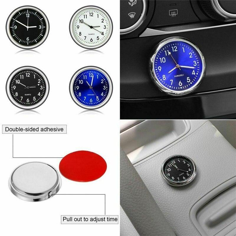 Car Luminous Quartz Analog Watch Clock Thermometer Dashboard Air Vent Stick-On Clock Purifiable Air