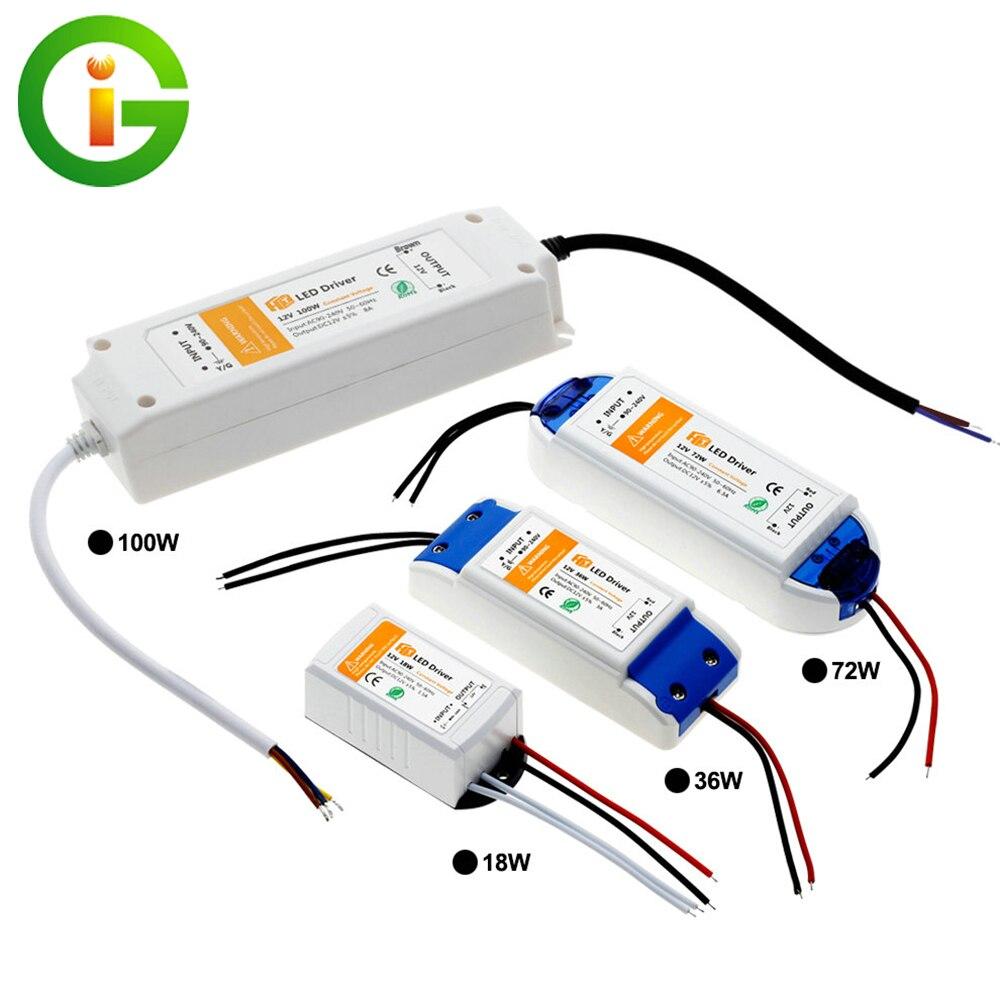 18W 36W 72W 100W DC12V Beleuchtung Transformatoren Hohe Qualität Led-treiber für LED Streifen Lichter 12V Netzteil Adapter