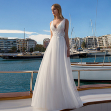 Verngo Appliques Tulle Wedding Dress Summer Vacation Elegant Illusion Gowns Simple Backless Bride Vestido De Novi