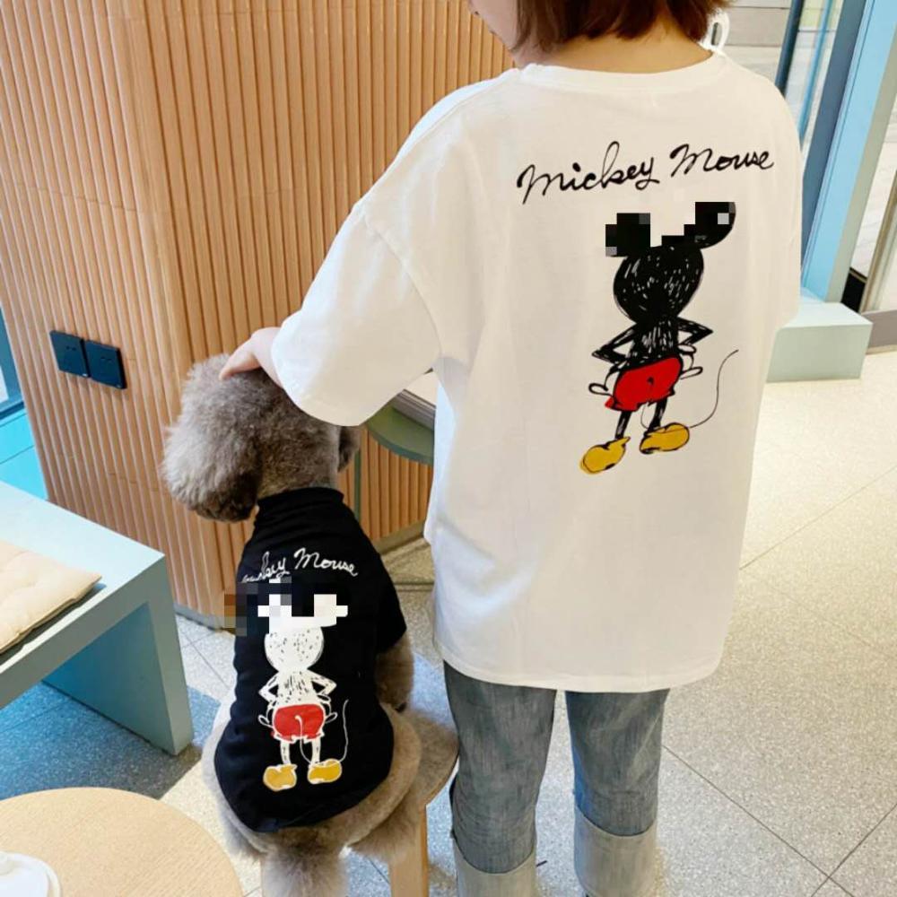 Animal de estimação pai-filho traje cão de três cores de manga curta algodão camiseta do que panda e cabelo dourado roupas de pelúcia