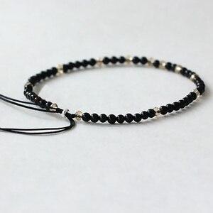 Image 4 - Pedra natural pequenos grânulos pulseiras para mulheres preto ônix artesanal yoga cura equilíbrio 925 prata oração reiki pulseiras finas
