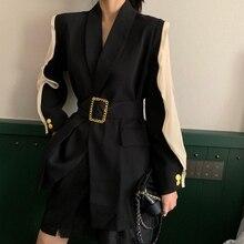 Vintage Sashes Belted Women Black Blazer Lapel Long Sleeve Patchwork Black Femal