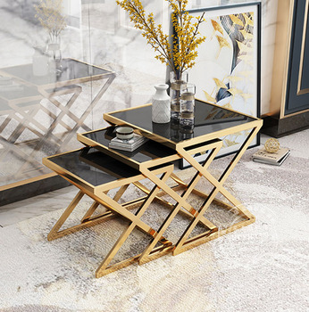 Luxury coffee table sofa side table corner table living room furniture tempered glass stainless steel small square table set toughened glass tea table stainless steel small square table the sofa side table flower