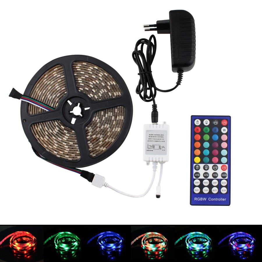 RGBWW RGBW LED Strip 12V RGB 5050 5M 10M 60Led/m Flexible 12V LED Strip RGBW RGBWW Light Tape Waterproof IR Controller + Adapter