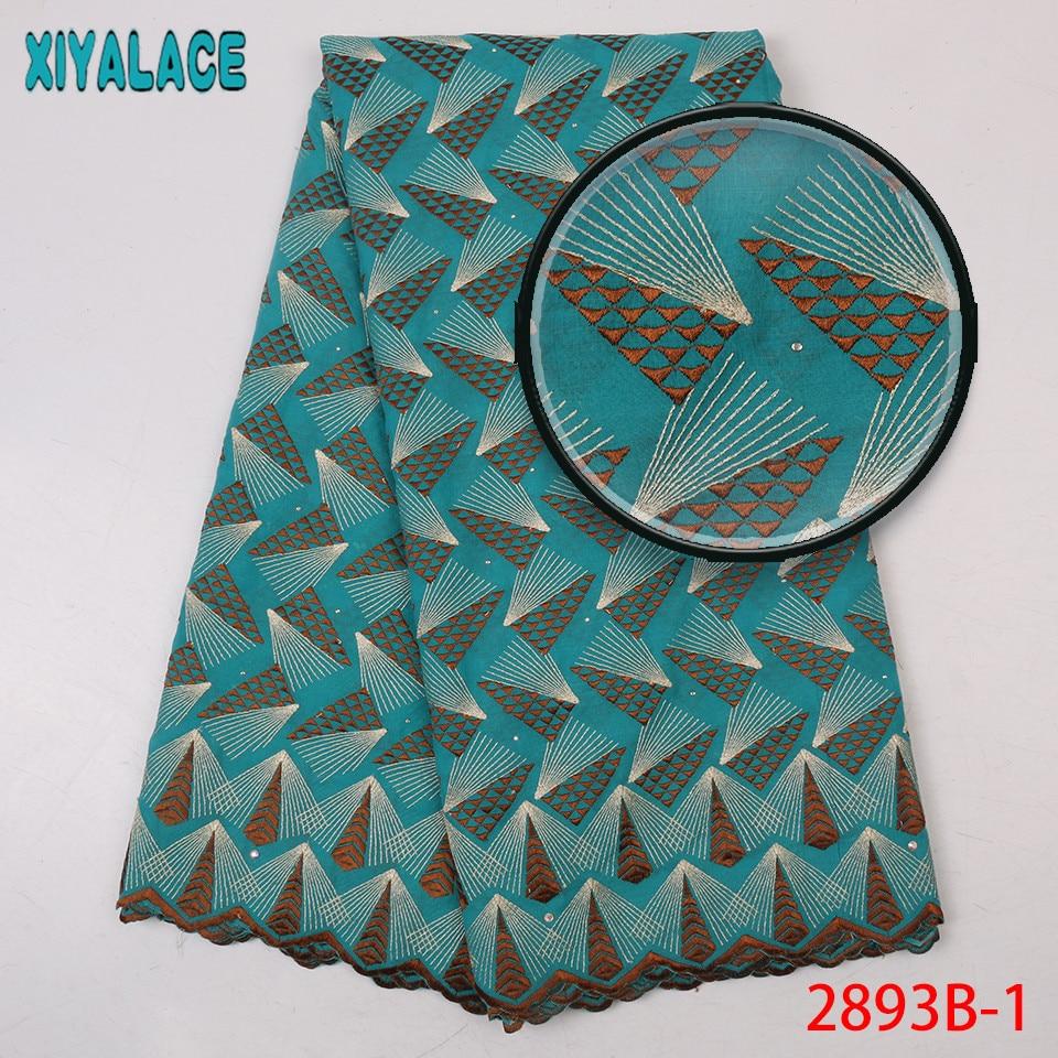 Derniers lacets africains 2019 haute qualité nigérian sec dentelle tissu coton dentelle tissu avec des pierres pour les femmes KS2893B-4 - 4