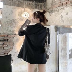 Seiwnibu летний однотонный блейзер для женщин с длинным рукавом и стразами в стиле пэчворк Длинное Элегантное пальто женская модная одежда 2020 Новинка