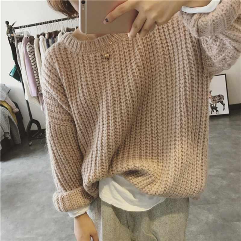 레트로 가을 겨울 니트 스웨터 여성을위한 당겨 Femme 특대 느슨한 긴 소매 단색 긴 따뜻한 스웨터 점퍼