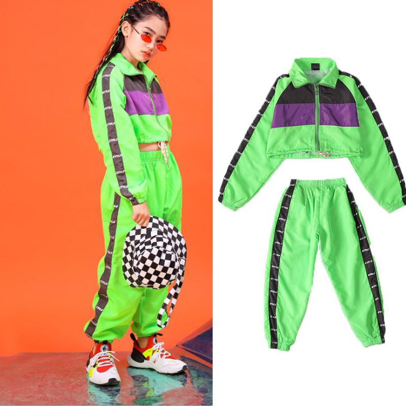 Children Green Hip Hop Dancing Clothing Short Jacket Top Crop Coat Jogger Casual Pants For Girl Jazz Dance Costume Clothes Wear