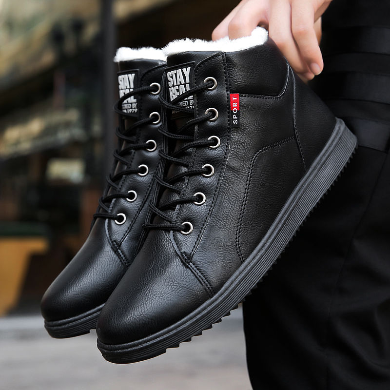 Shoes Snow-Boots Winter Leathe Round-Toe Classic-Style Plush Casual Fashion Mens Lace-Up