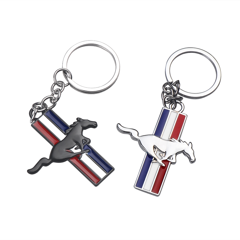 Car Styling Metal New 3D Horse Emblem Badge KeyChain keyring Fit for Ford Mustang GT 500 Cobra Key Chain Ring Accessories
