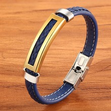 XQNI Stainless Steel Accessories Multi-color Rectangular Combination Blue Leather Classic Men's Bracelet Commemorative Gift(China)
