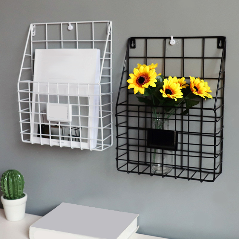 Simple Iron Grid Book Shelf Home Wall Decoration Wall Newspaper Magazine Storage Shelf Wall Shelves Wrought Iron