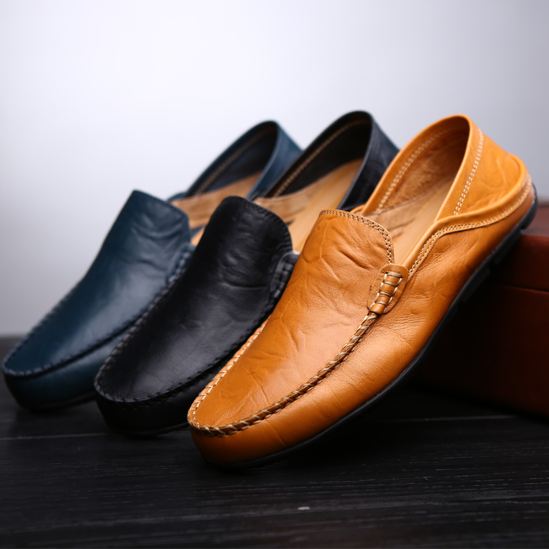 2019 Fashion Leather Men Shoes Casual Flat Men Shoes Waterproof Breathable Loafers Genuine Leather Slip Moccasins Comfortable