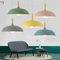 Fashion Minimalist Modern Pendant Lamps Led E27 Art Decor Aluminum Wood Lampshade Macaroon Hanging Lamp Dining Room Luminaire